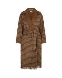 Nanushka Brown Alamo Fringed Check Wrap Coat