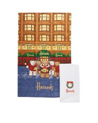 Harrods Multicolor Christmas Bear Tea Towel (set Of 2)