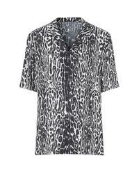 Burberry Black Leopard Print Shirt for men
