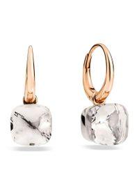 Pomellato | Metallic Nudo White Topaz Rose Gold Earrings | Lyst