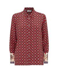 Sandro Red Geometric Silk Shirt