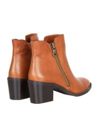Carvela Kurt Geiger Brown Skim Leather Ankle Boots