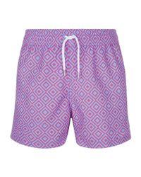 Frescobol Carioca Blue Diamond Print Swim Shorts for men