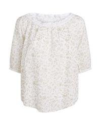120% Lino White Glitter Off-the-shoulder Top