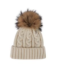 Harrods Natural Cable Knit Bobble Hat