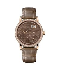A. Lange & Sohne Brown Rose Gold And Diamond Little Lange 1 Watch 36.8mm