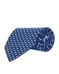 Ferragamo | Blue Mini Fish Silk Tie for Men | Lyst