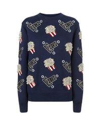 Marc Jacobs Blue Embellished Popcorn Sweatshirt