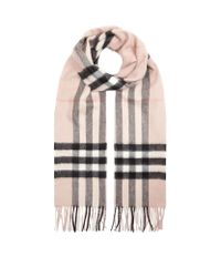Burberry | Natural Classic Cashmere Check Scarf | Lyst