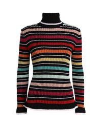 Mary Katrantzou Red Metallic Turtleneck Sweater