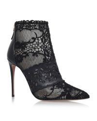 Valentino | Black Crystal-Beaded Lace Ankle Boots | Lyst