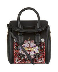 Alexander McQueen - Black Mini Heroine Silk Embellished Bag - Lyst