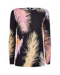 Emilio Pucci Black Ostrich Feather-trimmed Jersey Top