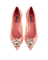 Dolce & Gabbana | Natural Bellucci Embellished Lace Pumps | Lyst