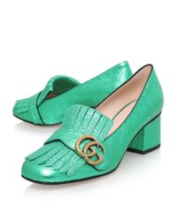 Gucci - Green Marmont Fringed Leather Loafers - Lyst