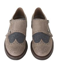 Brunello Cucinelli - Brown Suede And Wool Panelled Monk Shoes for Men - Lyst