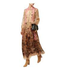 Alberta Ferretti - Brown Lace Collar Floral Silk Midi Dress - Lyst
