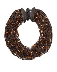 Eskandar | Brown Multistrand Coco Beads And Pearl Necklace | Lyst