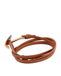 Miansai   Brown Leather Wrap Anchor Bracelet   Lyst