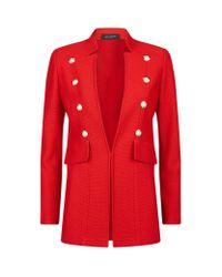 St. John | Red Piquã© Knit Pearl Appliquã© Jacket | Lyst
