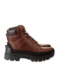 Hunter Leather Field Balmoral Lace Up Boots In Brown For