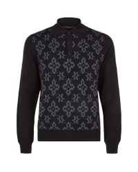 Billionaire - Black Monogram Polo Sweater for Men - Lyst