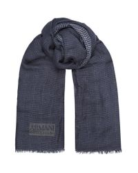 Armani | Blue Lightweight Checked Scarf for Men | Lyst