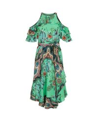 Etro - Green Multiple Print Cut-out Dress - Lyst