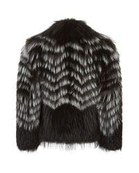 Burberry Black Chevron Stripe Fur Jacket