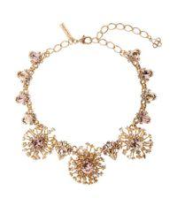 Oscar de la Renta   Metallic Tiered Crystal Necklace   Lyst