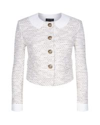 St. John | White Caillou Gold Button Tweed Jacket | Lyst