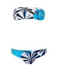 Emilio Pucci   Blue Abstract Print Bandeau Bikini   Lyst