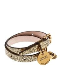 Alexander McQueen | Brown Double Wrap Leather Skull Bracelet | Lyst