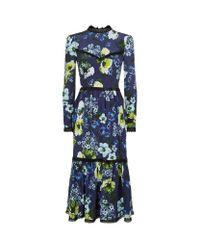 Erdem | Blue Georgie Floral Midi Dress | Lyst