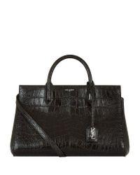 Saint Laurent | Black Small Cabas Rive Gauche Croc-Embossed Shoulder Bag | Lyst