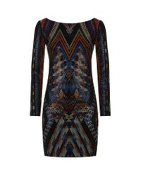 Balmain | Black Crystal Micro Stud Dress | Lyst