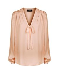 Theory | Multicolor Bernetta Tie-neck Blouse | Lyst