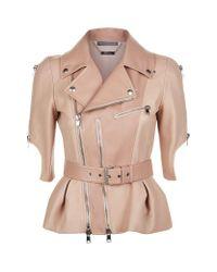 Alexander McQueen | Multicolor Short Sleeve Leather Peplum Jacket | Lyst