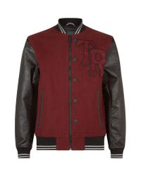 True Religion | Red Leather Sleeve Varsity Jacket for Men | Lyst
