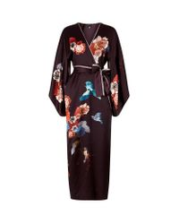 Meng | Multicolor Floral Printed Long Silk Kimono | Lyst