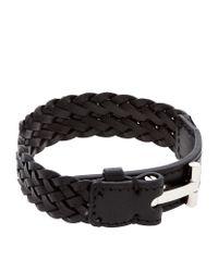Tom Ford | Black Woven T Leather Bracelet | Lyst