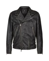 7 For All Mankind - Black Washed-look Leather Jacket for Men - Lyst