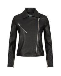 Reiss | Black Brewer Leather Biker Jacket | Lyst