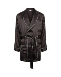 Zimmerli | Black Classic Piping Silk Robe for Men | Lyst