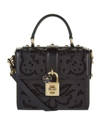 Dolce & Gabbana | Black Lace Padlock Nappa Leather Top Handle Bag | Lyst