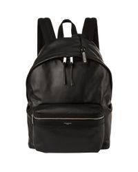 Saint Laurent Black Smooth Leather Backpack for men