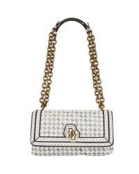 Bottega Veneta White Snakeskin Intrecciato Olimpia Knot Shoulder Bag
