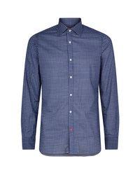 Isaia Blue Daisy Print Shirt for men