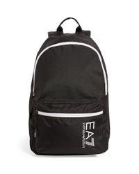 Armani Black Contrast Logo Backpack for men