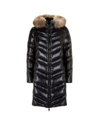 Moncler Black Fulmar Fox Fur Trim Coat